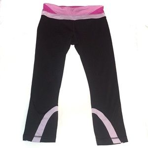 Vintage Lululemon Dark Grey Pink Cropped Leggings